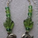 Long Green Dangle Fish Earrings