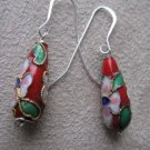 Oriental Style Red and Silver Earrings
