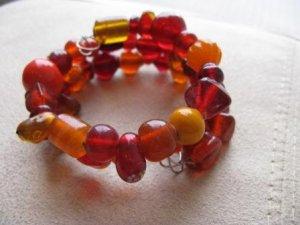 Fiery Red & Orange Wrap Bracelet