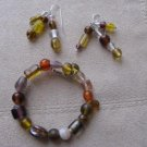 Mixed Glass Bead Bracelet & Earring Set