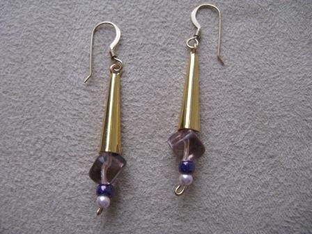 Gold & Purple Dangle Earrings
