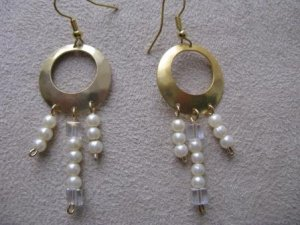 Gold, Pearl Colored, & Crystal Chandelier Earrings