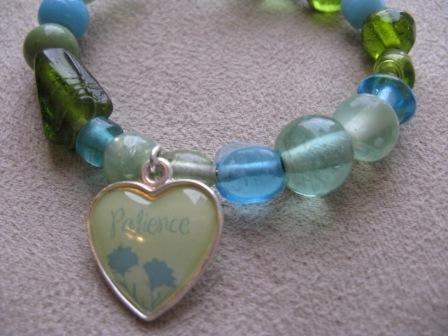 Green & Blue Glass Bead PATIENCE Recovery Bracelet
