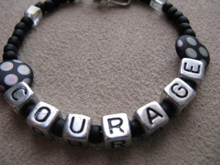 Black & Crystal COURAGE Recovery Bracelet