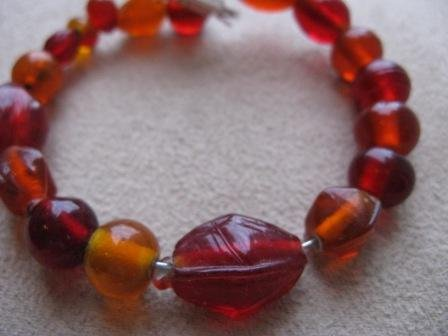 Fiery Red & Orange Glass Bead Bracelet