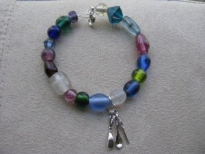 Spoon, Fork, Knife Rainbow Glass Bead Recovery Bracelet