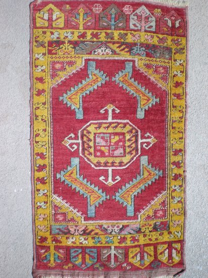 antique turkish anatolian yastik rug with nice colours