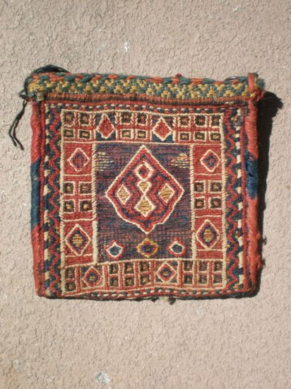 Antique small sumac  flat weave bag with cute design