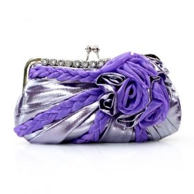 Gorgeous Satin Shell With Austrian Rhinestones Evening Bag Handbag Purse Clutch