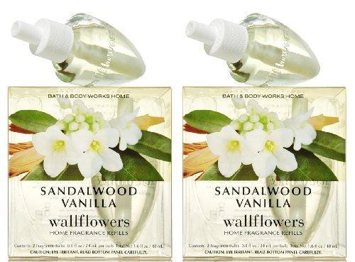 Set of 2 Bath & Body Works Sandalwood Vanilla Wallflower Refill Bulb 2-packs (4