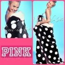 "Victoria's Secret PINK Soft Sherpa Blanket Black Polka Dot 60"""" x 72"""" & BONUS VS"