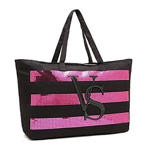 Victoria's Secret Tote Canvas Bag 2014 with Sequin Stripes Limited Edition