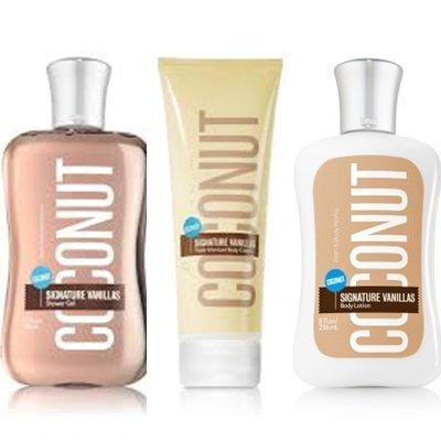 Bath & Body Works Signature Vanillas Coconut Gift Set ~ Body Cream ~ Shower Gel
