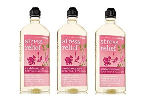Lot of 3 Bath & Body Works Aromatherapy Sandalwood Rose Stress Relief Body Wash