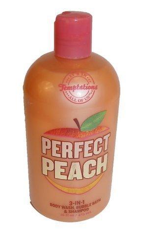 Bath and Body Works Temptations PERFECT PEACH 3 in 1 Body Wash, Bubble Bath, & S