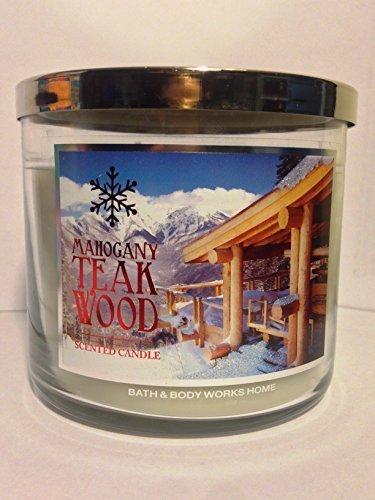 Bath and Body Works Mahogany Teakwood Decorative Label Large 3-wick Candle