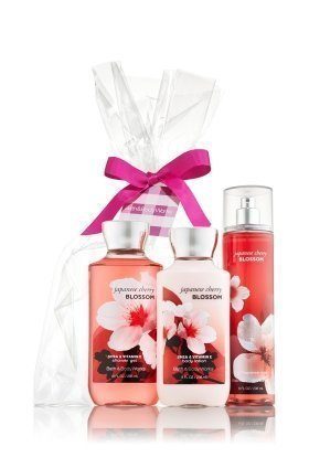 Bath & Body Works Japanese Cherry Blossom Gift Set - All New Daily Trio (Full-Si