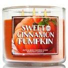 1 X Bath & Body Works 2014 SWEET CINNAMON PUMPKIN (Orange) 3 Wick Scented Candle
