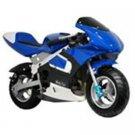 MotoTec Gas Pocket Bike, Blue