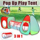 3in 1 Kids Play Tent Pop Up Ball Pit- One Square Cubby-One Triangle Cubby-One Tunnel