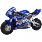 Razor 24 Volt Mini Electric Single Speed Racing Motorcycle Pocket Rocket, Blue