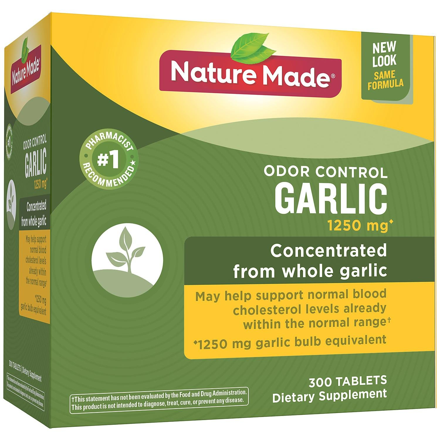 Nature Made Odor Control Garlic 1,250 mg Tablets (300 ct.)