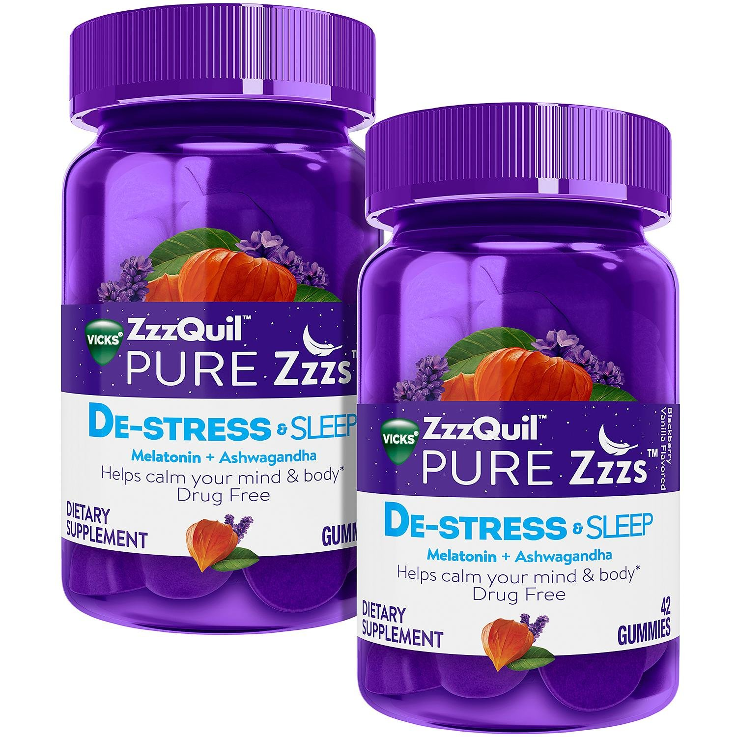 Vicks ZzzQuil Pure Zzzs, De-Stress and Sleep, Melatonin + Ashwagandha Gummie (42 ct., 2 pk.)