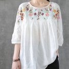 Embroidered Half Sleeve Vintage Blouse For Women