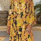 Vintage Floral V-neck Long Sleeve Dress