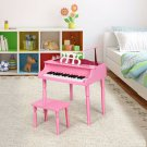 30-Key Wood Toy Kids Grand Piano with Bench & Music Rack