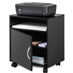 Printer Stand with Storage Mobile Black Wooden