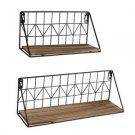 Set of 2 Wall Floating Shelves Rustic Modern Wood