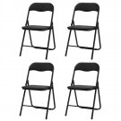 4 Foldable Leather Square Back Camel Chair Black