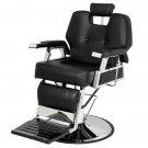 PVC leather case Stainless steel base Iron footrest Disc with footrest 150kg Black Barber chair