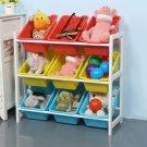 Solid Wood Toy Rack KidsToy Storage Organizer Children Finishing Storage Rack