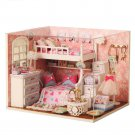 Creative DIY Handmade Assemble Doll House Miniature Furniture Kit with LED Effect