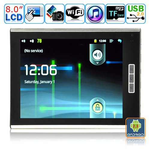 Android 2.3.1 Tablet PC-8 Inches TFT Dual-touch Resistive LCD-M8004(Steel White)