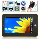 7 inches Resistive Touch Screen Android 2.2 Tablet PC(Yellow & Black & Red & White & Silver)