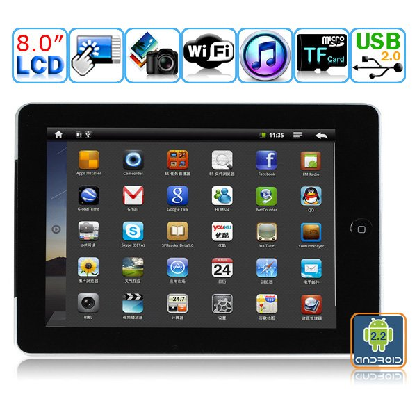 Android 2.2  Camera WIFI 8-inch Resistive Touch Screen Tablet PC - RK2818
