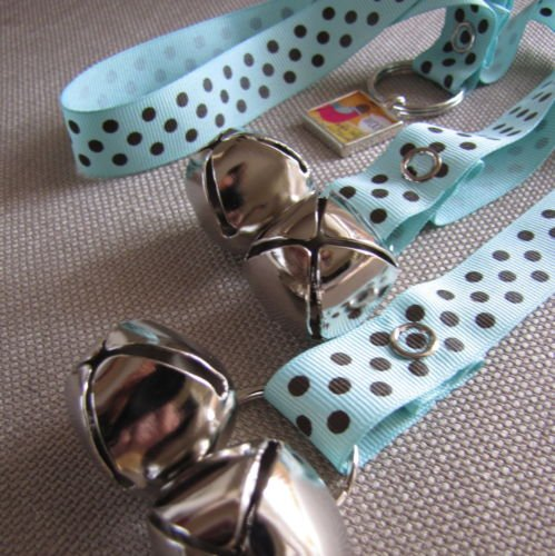 Dog House Training Bells-Blue and Brown Dots