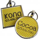 Yellow Honeycomb...Custom Graphic Pet ID Tag