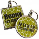 Modern Green Circles...Custom Graphic Pet ID Tag
