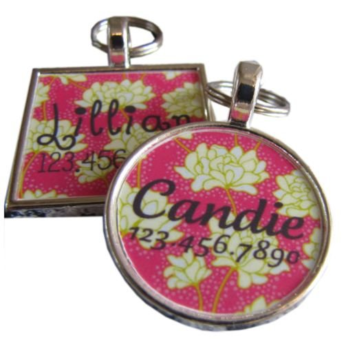 Pink and White Floral Custom Pet ID Tag