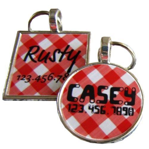 Red Picnic Plaid Custom Graphic Pet ID Tag