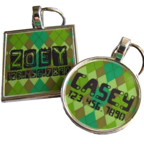 Green Argyle Pet ID Tag