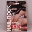 Nail Rock Designer Nail Wraps Red Fishnet on White Shields Art Polish Strips Stickers Decals Designs