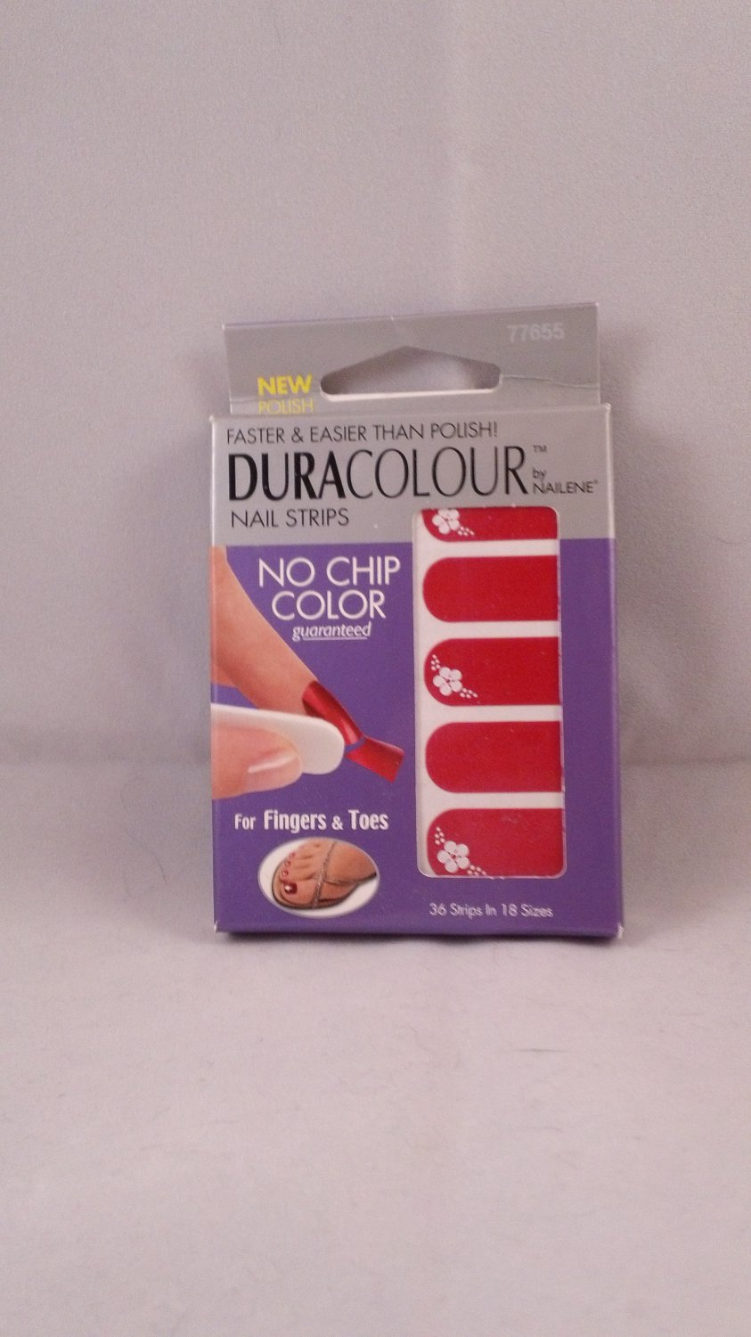 Nailene DuraColour Nail Polish Strips Red Wraps Shields Art Stickers Decals Designs