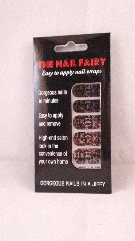 The Nail Fairy Metallic Black & Silver Skulls Foils Designer Wraps Shields Art Polish Strips Decals