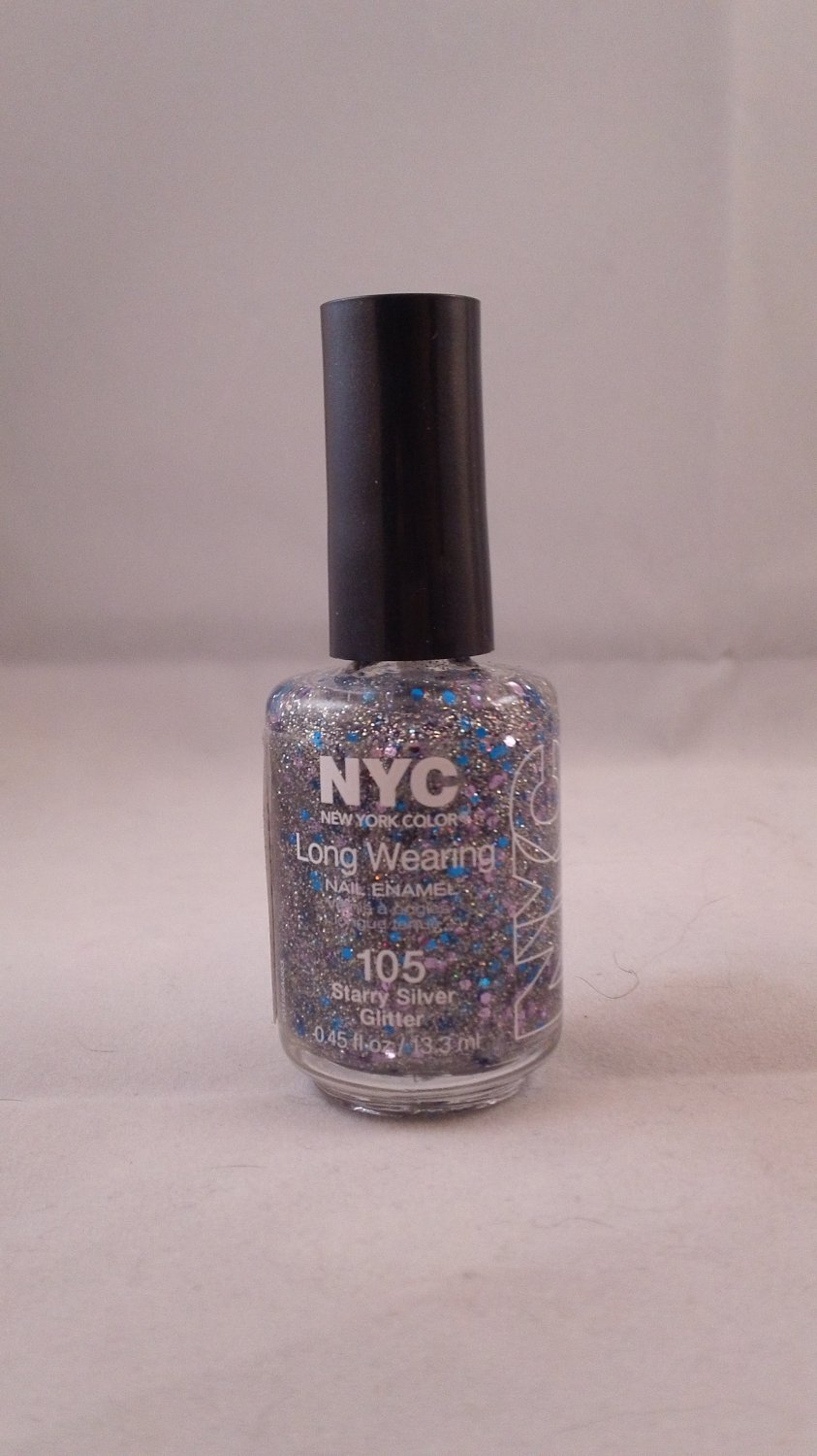 NYC New York Color Long Wearing Nail Enamel Lacquer Polish #105 Starry Silver Glitter