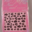 XF 3D Nail Seals Art Stickers Decals Black Hearts Jewels